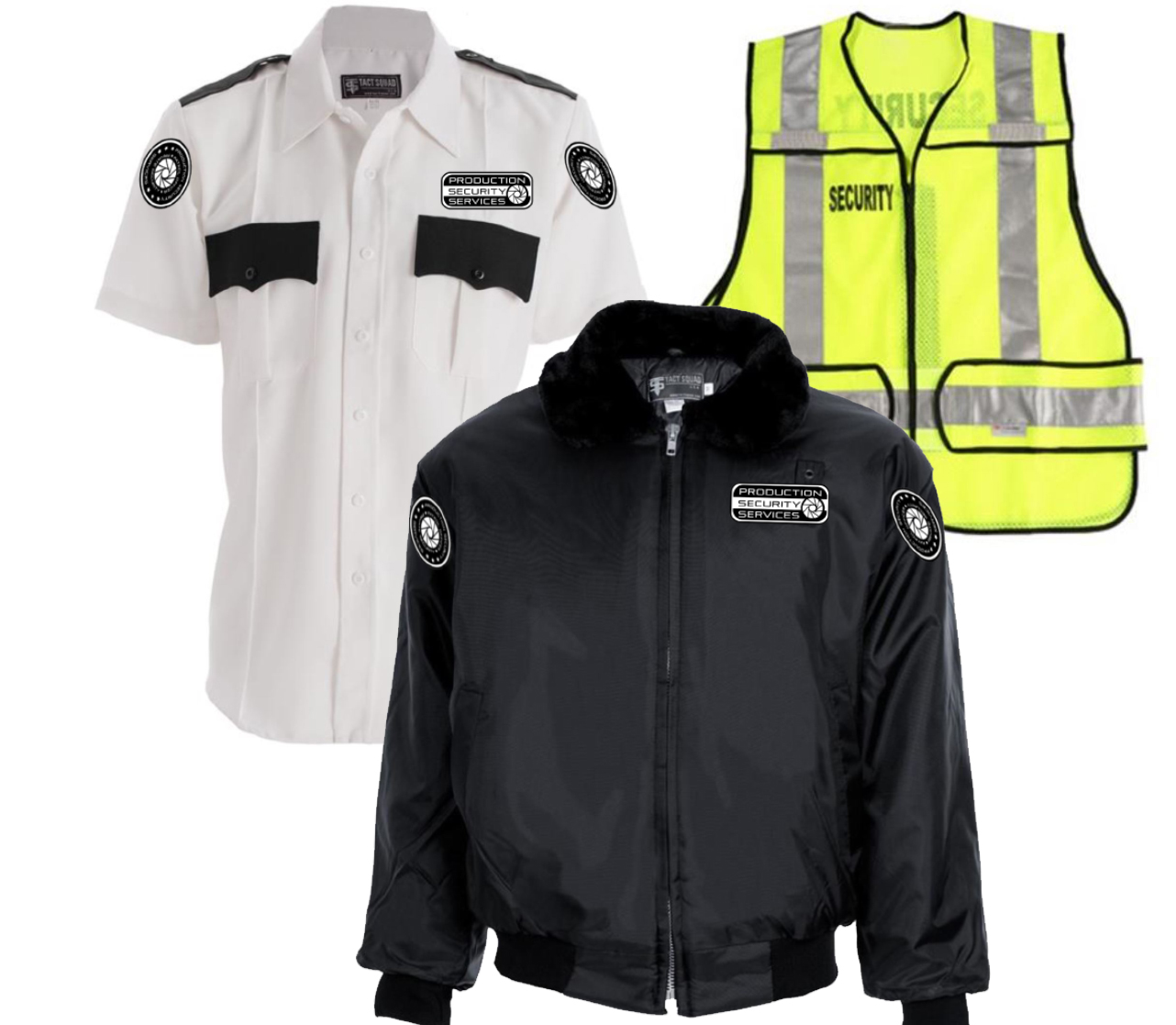 White Shirt-Black Jacket-Hi Vis Vest
